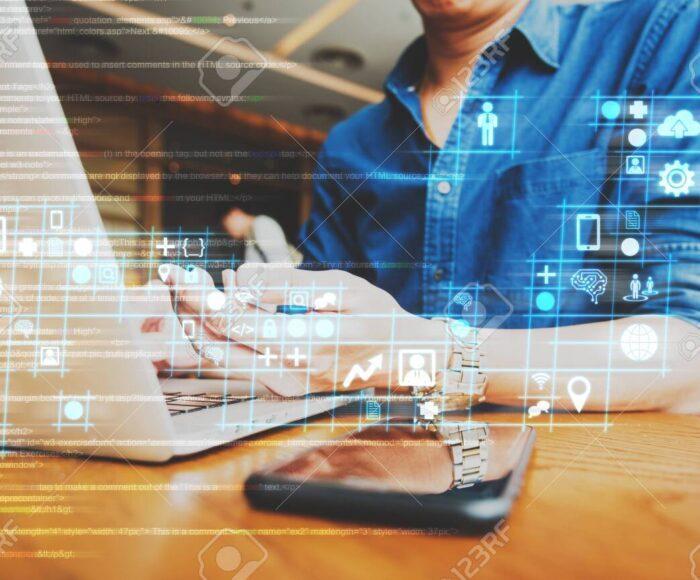 businessman working on digital diagram for program improvement,