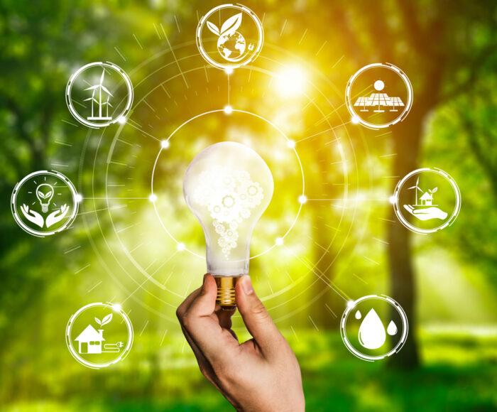 Energy innovation light bulb graphic interface.